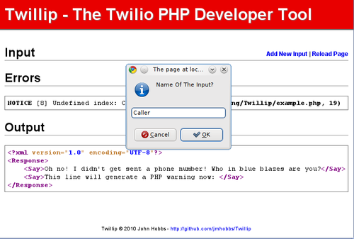 Twillip - New Input Prompt
