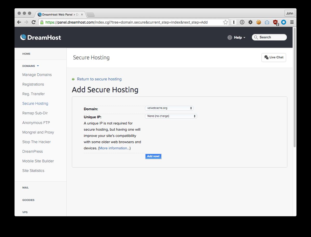 Add Secure Hosting